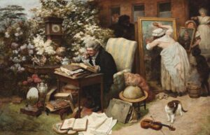Lot 46 - William Strutt, Spring Cleaning, 1892, est. $65,000-85,000. The paintings conservator from hell