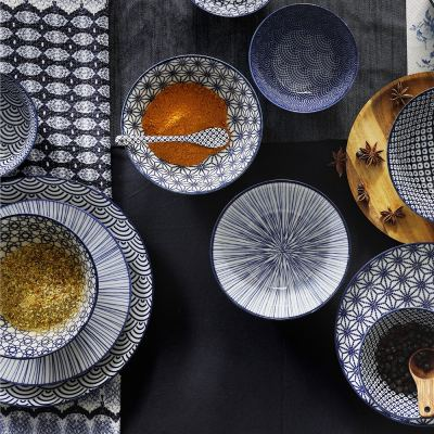 nippon-blue-dessert-plate-lines