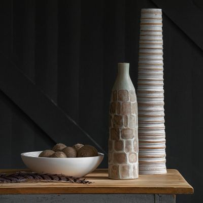 tall-ribbed-wooden-vase