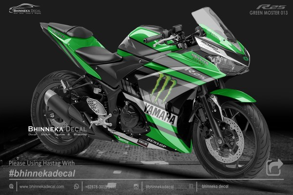 DECAL STICKER YAMAHA R25 DESAIN GREEN MONSTER-013