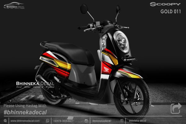 DECAL STICKER HONDA SCOOPY GRAFIS GOLD KODE 009