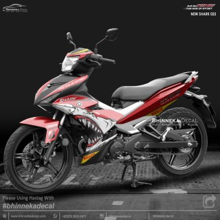 DECAL STICKER MX-KING 150 DESAIN NEW RED SHARK-009