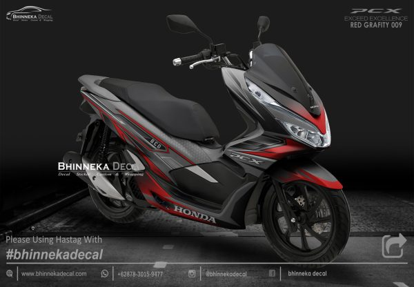 DECAL STICKER HONDA PCX 150 DESAIN RED GRAFITY-015