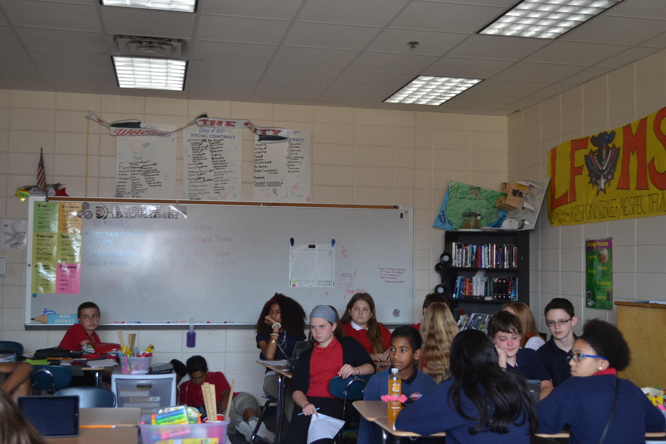 Limited space in the classroom permits flexibility and group/individual collaboration
