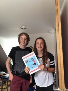 Biba and Teo with the poster they designed for the Brighton Half Marathon 2016.