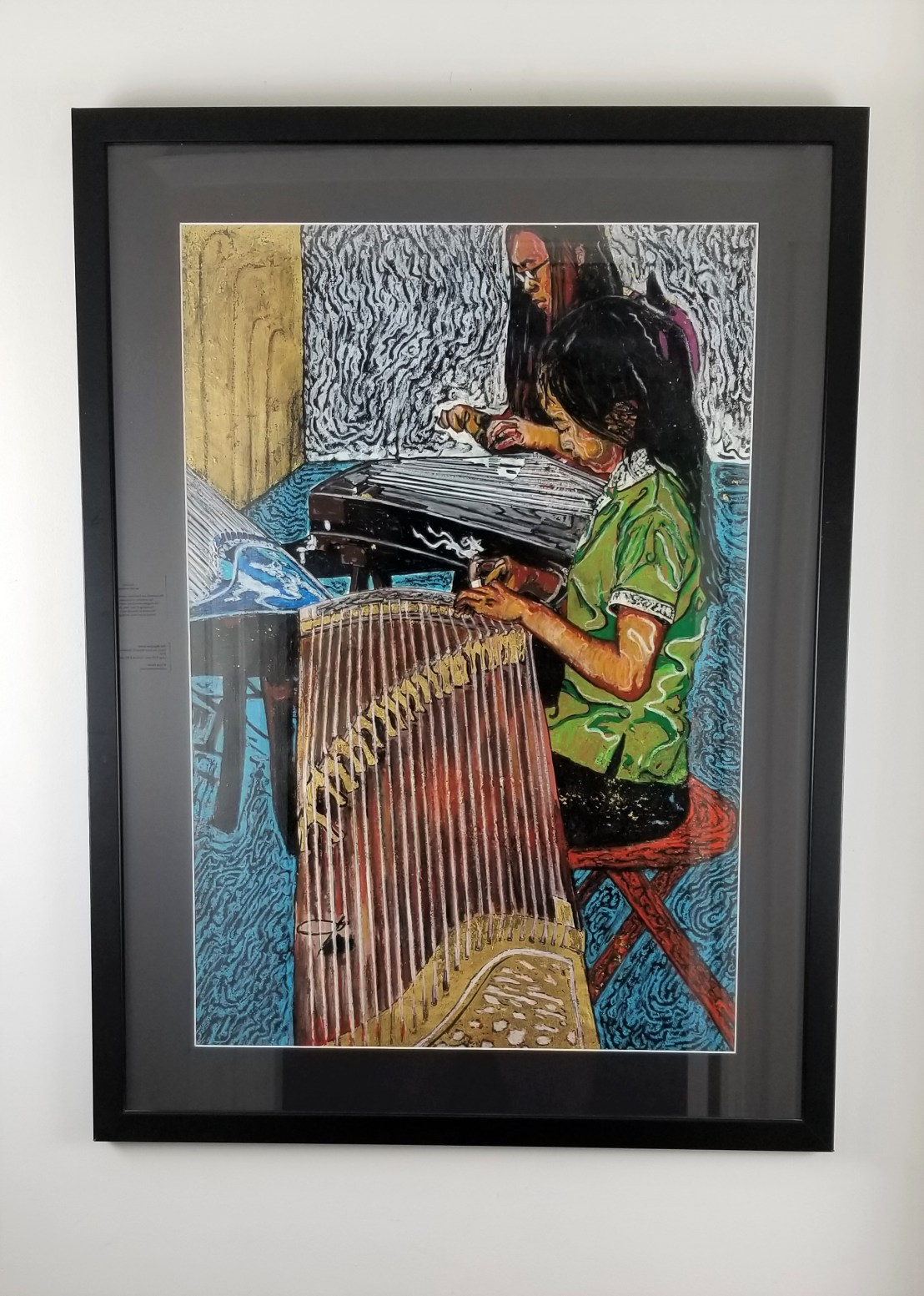 """""""Girls Playing the Chinese Harp""""; ( Comes in a frame); Paint, crayon and gold leaf on paper; 40in x 30in x 1in; Year 2003; Suggested donation is $1500"""
