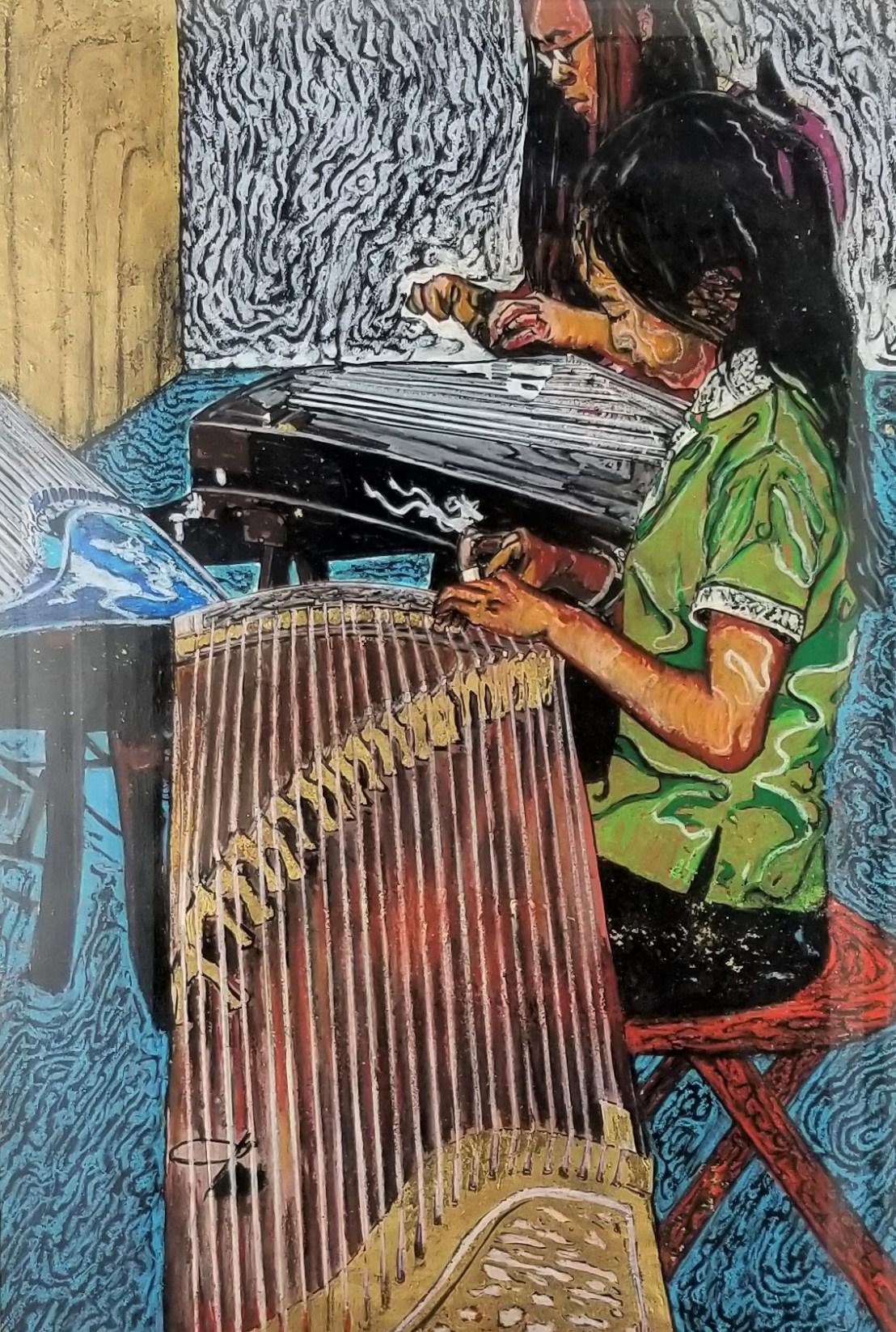 """Girls Playing the Chinese Harp""; (DETAIL)"