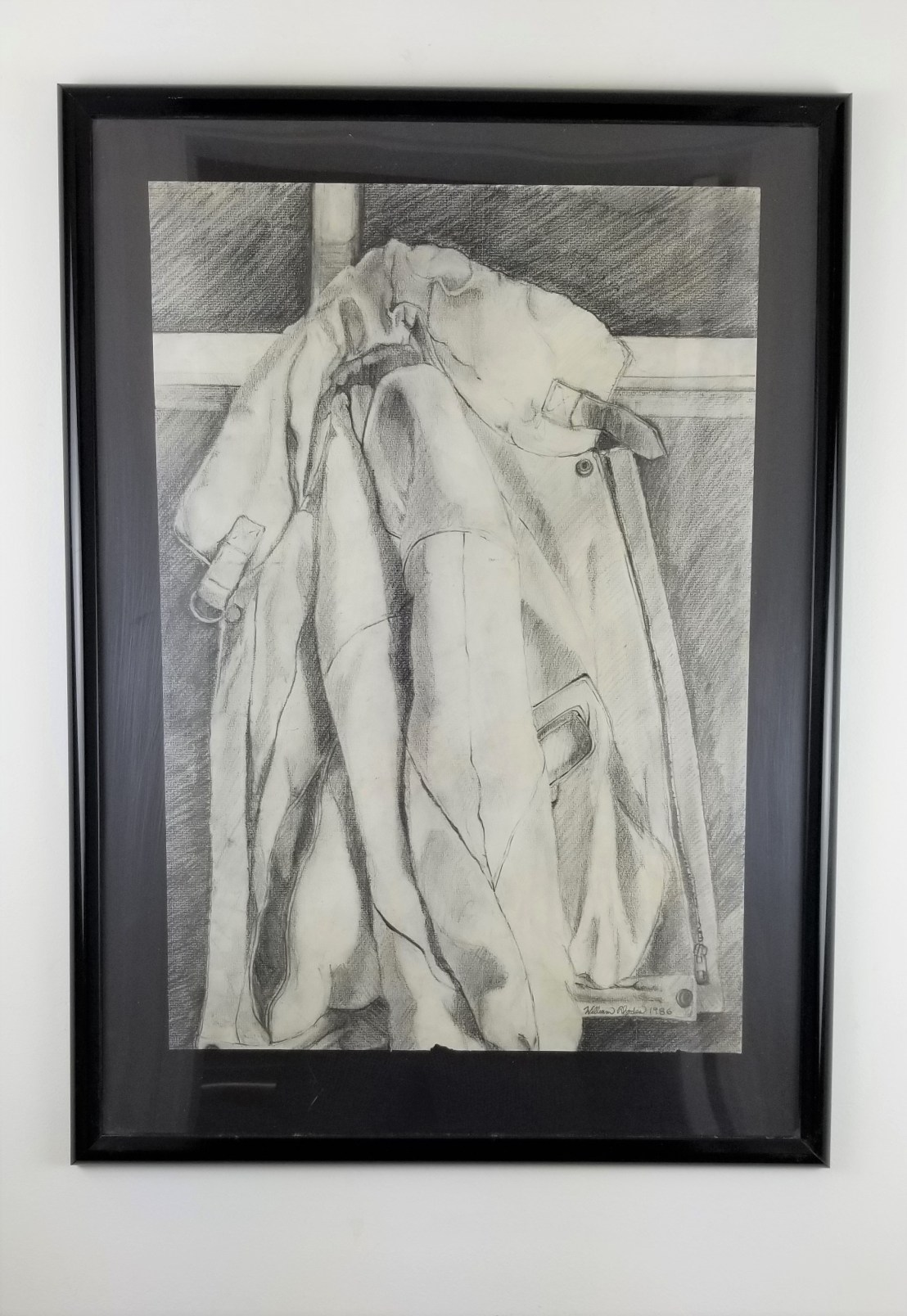 """""""Old Leather Jacket"""" (Comes in a frame) Pencil on paper; 29in x 21in x 1.5in; Year 1986; Suggested donation is $400"""
