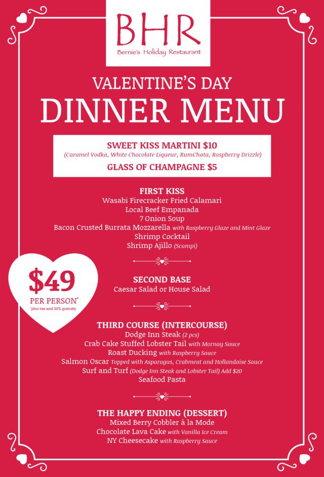 BHR Valentine's Day 2017 Dinner Menu