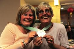 Helen and Theresa with their Paris Marathon medals