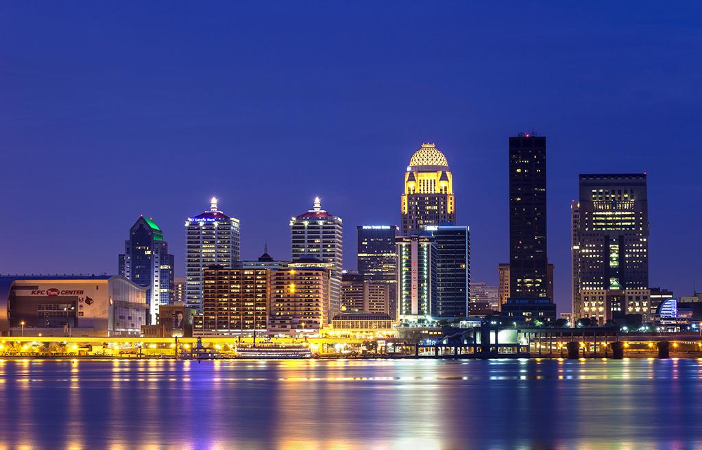 The Louisville, Kentucky skyline at night.