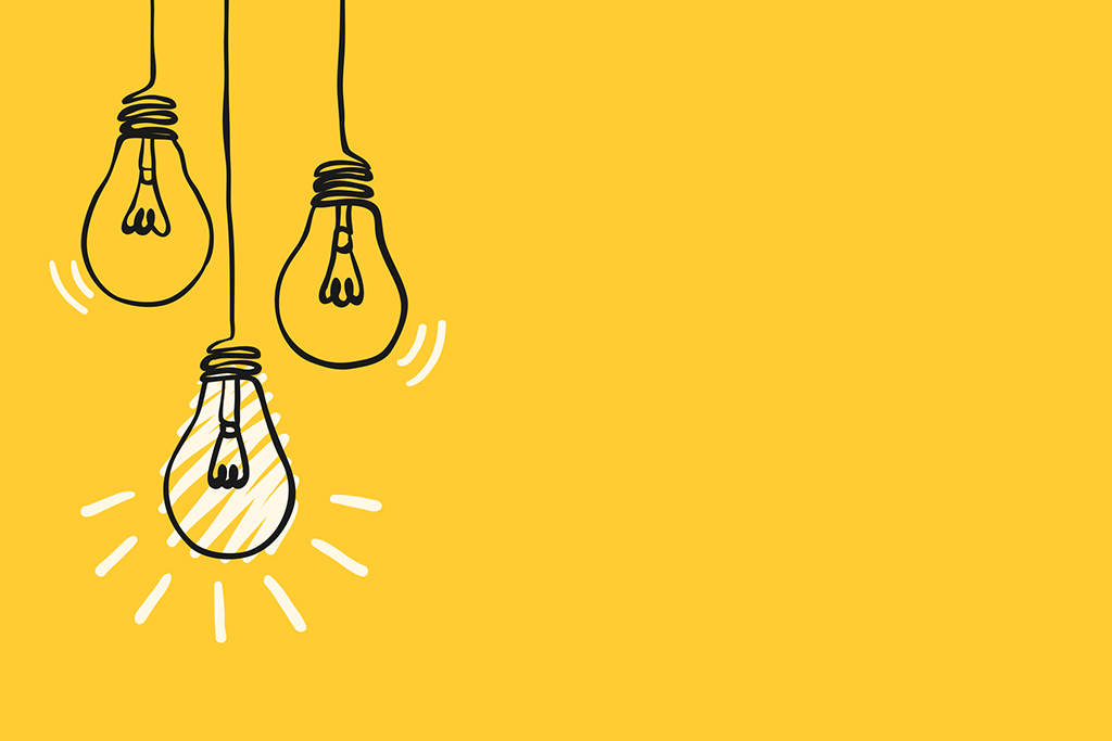 simple black childish hand drawing lines lightbulbs on yellow for background, texture, wallpaper, banner, label etc. with copy space. vector design.