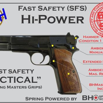 """Fast Safety (SFS v2.0) """"Tactical"""" for Hi-Power, BHSpring Kit, Masters Grips"""
