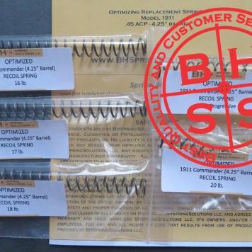 """4.25"""" 1911 Recoil Springs Kit  5-Pack  16lb, 17lb, 18lb, 18lb Progressive, 20lb"""