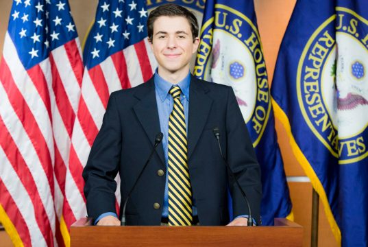 Alexandre Silberman at the press briefing room for the U.S. House of Representatives during a tour of the Capitol Building at the 2016 Al Neuharth and Free Spirit Journalism Conference.   Photo: Courtesy Newseum Institute