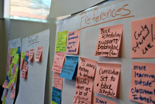 Sticky notes line the walls of the office of BHS Principal Tracy Racicot, filled with suggestions for a redesigned schedule that will launch in the 2017-18 school year. | Photo: Alexandre Silberman/Register