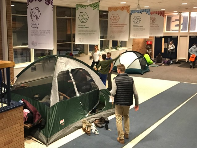 Students pitched tents in the lobby and hallways after winter weather moved the annual Spectrum Sleep Out event indoors. | Photo: Alexandre Silberman/Register