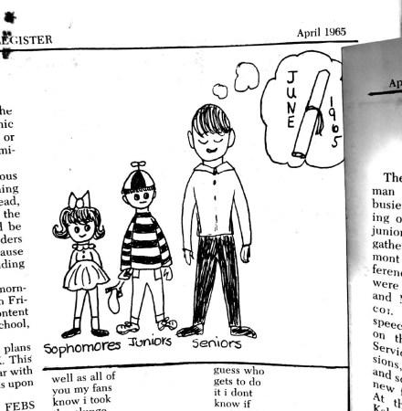 A 1965 cartoon showed that seniors were ready for graduation.
