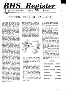 A front page headline announced that the school budget had passed in 1992.