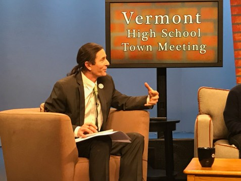 Vermont Lt. Gov. Dave Zuckerman asks the panel a question during his high school town hall meeting at Vermont PBS studios in Colchester on May 4