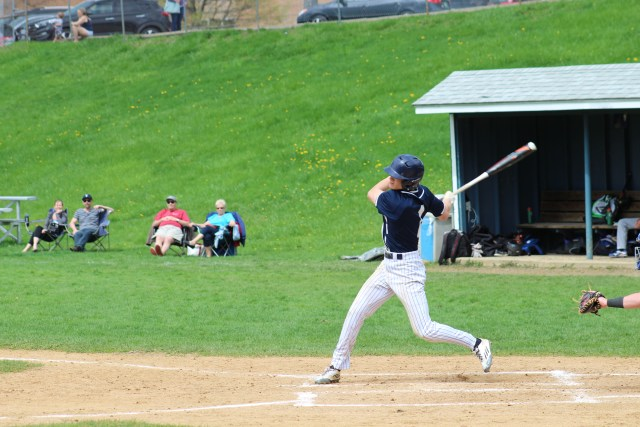 Junior Sky Rahill takes a swing in a game this season at Buck Hard Field. Rahill serves as a captain for the Seahorses. | Photo: OREAD