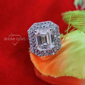 5CT Emerald Colorless Moissanite Engagement Ring, Wedding Ring, Halo Ring, Gold Silver Ring, Ring For Women, Bridal Handmade Ring Bhumi Gems