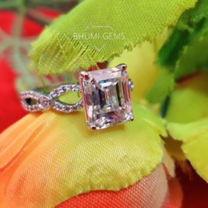 4CT Emerald Colorless Engagement Ring, Moissanite Wedding Ring, Halo Ring, Gold Silver Ring, Ring For Women, Bridal Handmade Designer Ring