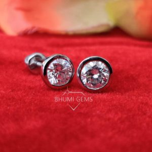 2CT Round Cut VVS1 Excellent Colorless Moissanite Earrings, Studs ,Authentic Moissanite,Brilliant Round Solitaire, Christmas Gift Bhumi Gems