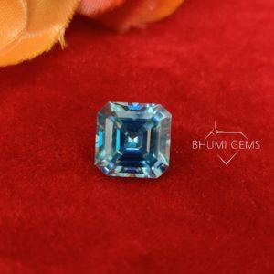 Blue Asscher Loose Moissanite Diamond Gemstone For Engagement, Wedding, Anniversary, Bridal Making Ring, Earring, Pandant By Bhumi Gems