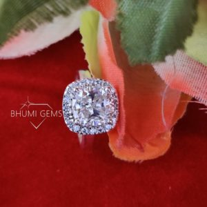 5.00CT Cushion Cut VVS1 Brilliant Colorless Diamond Moissanite Engagement Ring Wedding Bands Vintage Halo Gold Silver Gift By Bhumi Gems