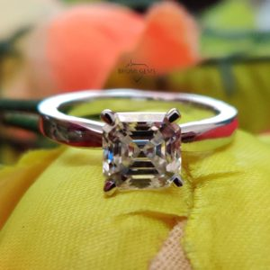 2CT Asscher Colorless Solitaire Moissanite Ring, Engagement Ring, Claw Prongs Solid Rose Gold Wedding Ring, Anniversary Gift By Bhumi Gems
