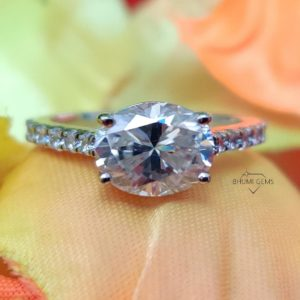 2.30CT Oval Colorless Solitaire Moissanite Ring, Engagement Ring, Claw Prongs Solid Rose Gold Wedding Ring, Anniversary Gift By Bhumi Gems