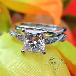 3CT Princess VVS1 Colorless Moissanite Engagement Ring With Band | Designer Ring | Vintage Ring | Wedding band | For Gift | Ring For Women