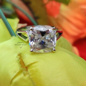 5.14 TCW Cushion Cut VVS1 Colorless Moissanite Engagement Ring   Solitaire Ring   Ring For Her   Wedding Ring   Silver Gold Ring   Bhumi Gems