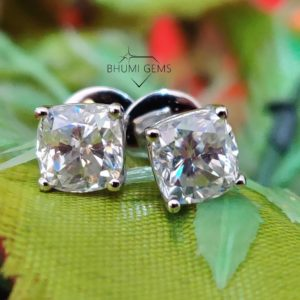 2TCW Cushion Colorless VVS1 Diamond Moissanite Earrings Wedding Stud Custom Screw Back Dangle Drop Leverback Earrings Wedding Gold Silver