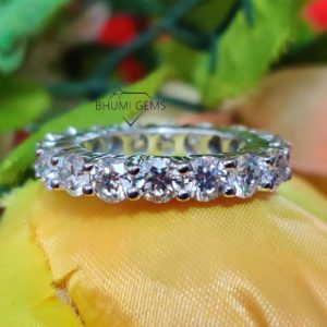 3.5MM Round Cut Colorless VVS1 Moissanite Wedding Band Eternity Band Engagement Ring Conflict Jewelry Antique Vintage Solitaire Diamond