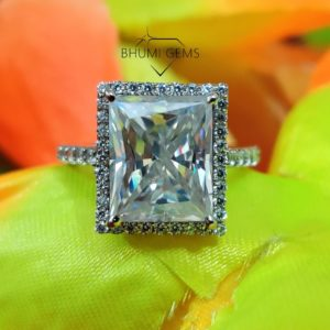 5CT Radiant Antique Colorless Moissanite Engagement Ring   Halo Ring   Wedding Set   Anniversary Promise Ring   Ring For Gift   Bhumi Gems
