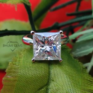 4CT Princess Cut Colorless Moissanite Engagement Ring | Solitaire | Eternity | Anniversary | Promise | Vintage | Classic | For Gift Her