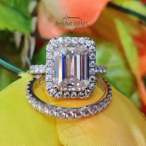 5CT Emerald Cut VVS1 Moissanite Wedding Ring Set | Engagement Ring | Eternity Band | Halo Setting | 14KT White Gold |Bridal Set Gift For Her