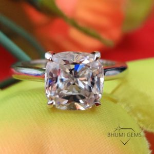 3.06 TCW Cushion Cut VVS1 Colorless Moissanite Engagement Ring   Solitaire Ring   Ring For Her   Wedding Ring   Silver Gold Ring   Bhumi Gems