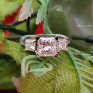 4CT Princess Cut VVS1 Colorless Moissanite Engagement Ring   Wedding Ring   Vintage Ring   Three Stone Ring   Silver Ring   Bhumi Gems