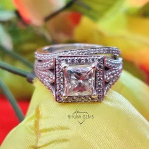 4.10CT Princess Cut Colorless Moissanite Wedding Set | Bridal Set Ring | Eternity Band | Engagement | Anniversary Ring | Promise Ring | Gift