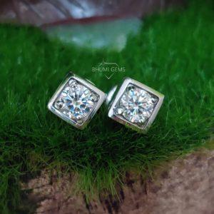 2TCW Round Colorless VVS1 Diamond Moissanite Earrings | Wedding | Custom | Screw Back | Stud Earring| Bridal | Engagement | Classic | Gift