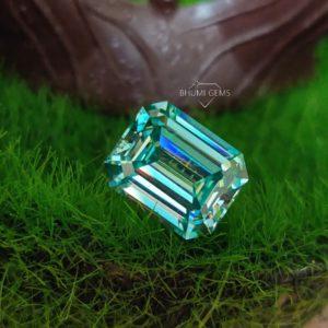Blue Emerald Cut Loose Moissanite Diamond Loose Gemstone Making Jewelry Engagement Ring   Earring   Necklace   Pendant   Bracelet   Gift Her
