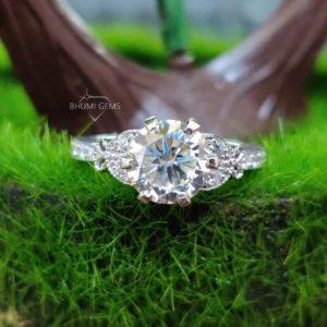 2.38TCW Round Cut Moissanite Engagement Ring   Wedding Ring   Eternity Ring   6 Prong   Bridal Set Ring   Antique Ring   Anniversary Ring