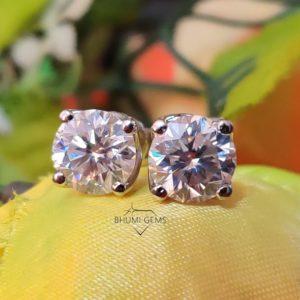 4TCW Round Colorless VVS1 Diamond Moissanite Earrings | Wedding Stud | Custom | Screw Back | Stud | Bridal | Engagement | Classic | Gift