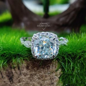 4.74TCW Cushion Cut Colorless Moissanite Engagement Ring Eternity Halo Ring Solitaire Vintage Anniversary Promise Ring Wedding Gold Silver