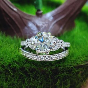 3.19TCW Round Cut VVS1 Colorless Moissanite Wedding Set | Bridal Set | Engagement Ring | Eternity Band | Anniversary | Promise| Ring For Her