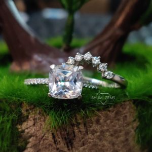 3.65TCW Cushion Colorless Moissanite Wedding Ring Set | Bridal Set | Engagement Ring | Wedding Band | Anniversary | Promise | Eternity Band