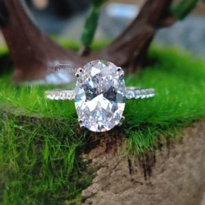 3.44TCW Oval Cut Colorless Moissanite Engagement Ring   Vintage Ring   Solitaire Accent   4 Prong Setting   Silver Gold   Anniversary   Gift